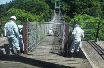 小規模吊橋の撤去設計