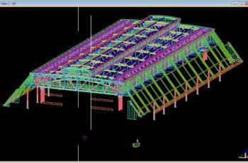 体育館 屋根部の3D詳細設計