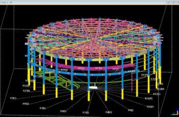 曲率を有する建築構造物の3D詳細設計
